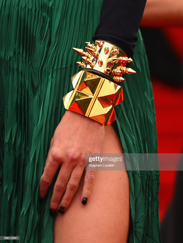 A close-up view of Ivanka Trump's bracelet at the Costume Institute Gala for the 'PUNK: Chaos to Couture' exhibition at the Metropolitan Museum of Art on May 6, 2013 in New York City.