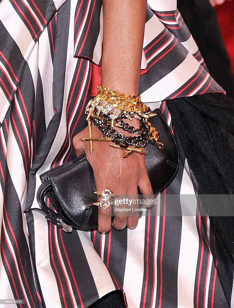 A close-up view of Liya Kebede's clutch (fashion detail) at the Costume Institute Gala for the 'PUNK: Chaos to Couture' exhibition at the Metropolitan Museum of Art on May 6, 2013 in New York City.