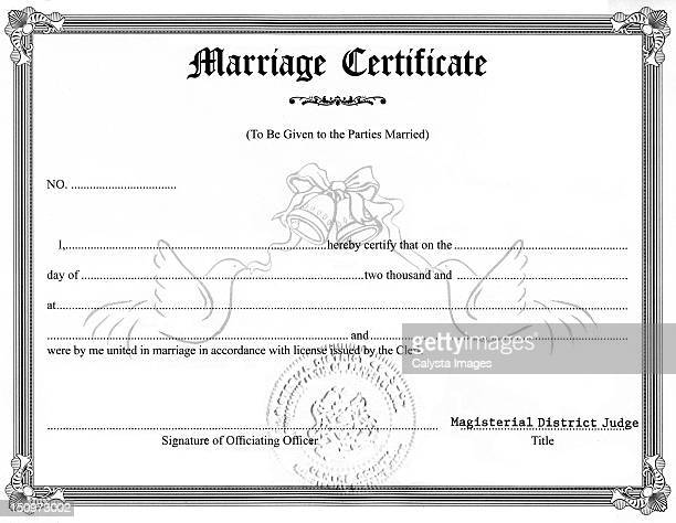Close-up view of marriage certificate