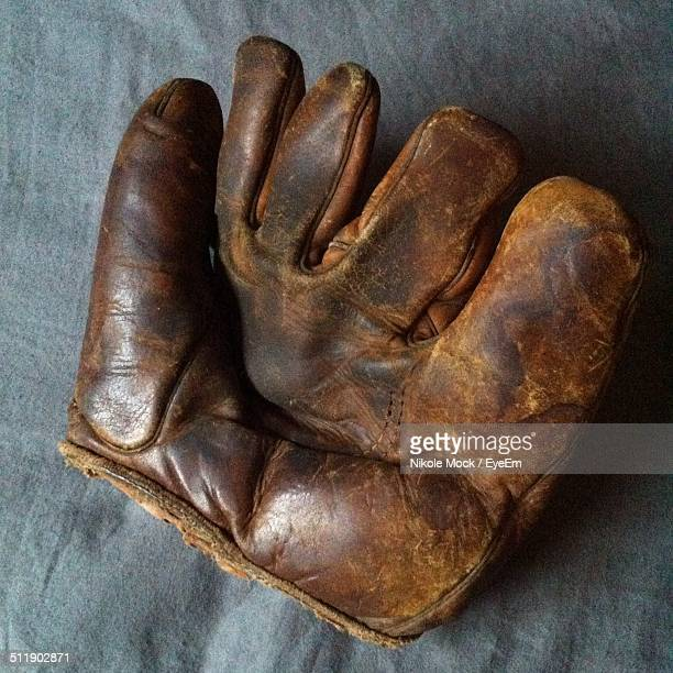 Close-up view of old and weathered baseball glove