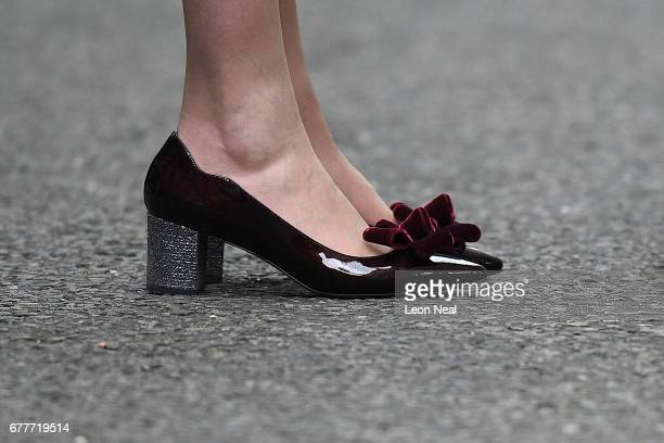 A closeup view of Prime Minister Theresa May's shoes as she makes a statement in Downing Street after returning from Buckingham Palace on May 3 2017...