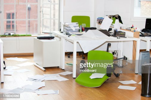 Close-up view of ransacked office : Stock Photo