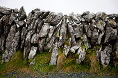 Close-up view of stone wall, Ireland