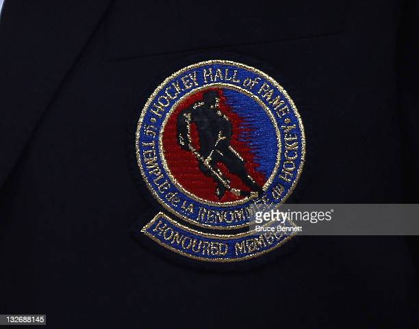 A closeup view of the Hockey Hall of Fame logo on the blazer given to Mark Howe during the Legends Classic Game at the Air Canada Centre on November...