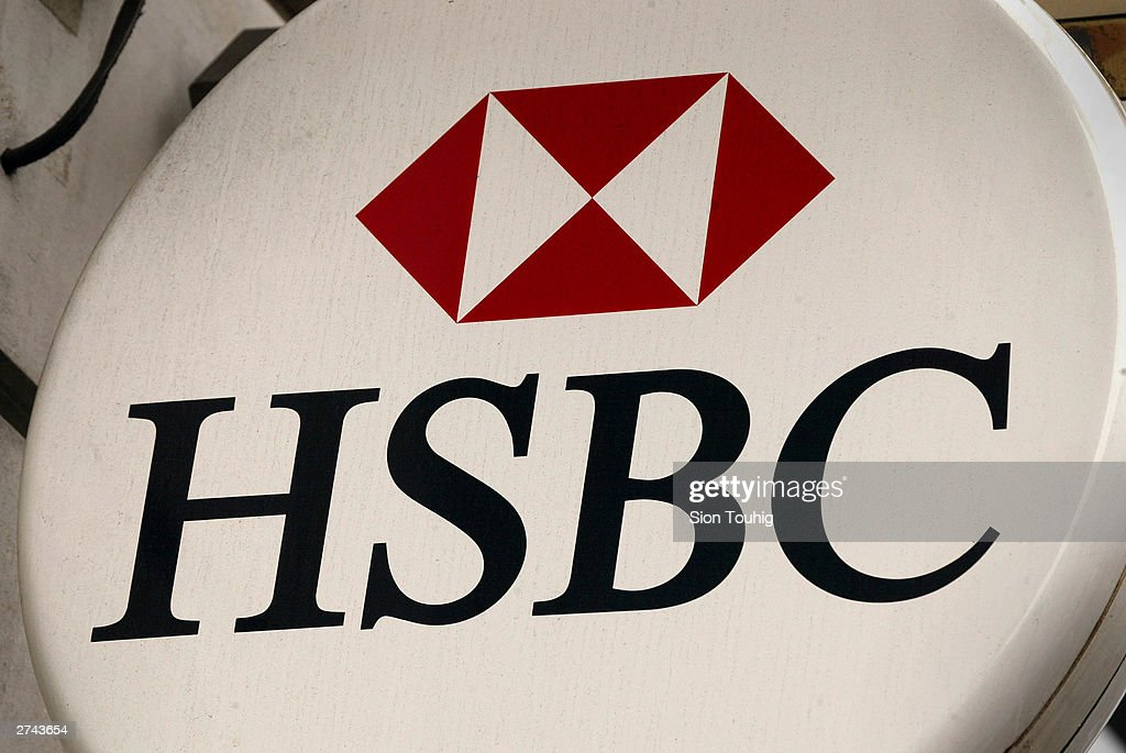 Closeup view of the HSBC bank logo displayed on an ATM on Regent Street London England July 30 2002 HSBC along with the three other UK clearing banks...