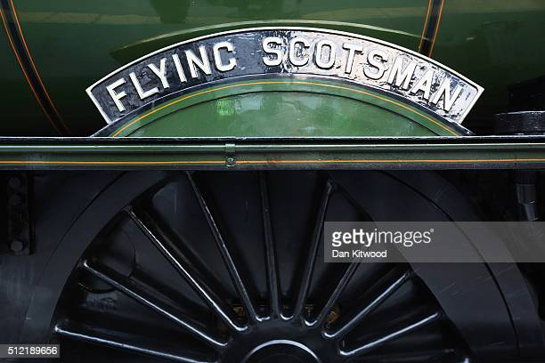 A closeup view of the logo on The Flying Scotsman as it leaves Kings Cross Station on February 25 2016 in London England The Flying Scotsman built in...
