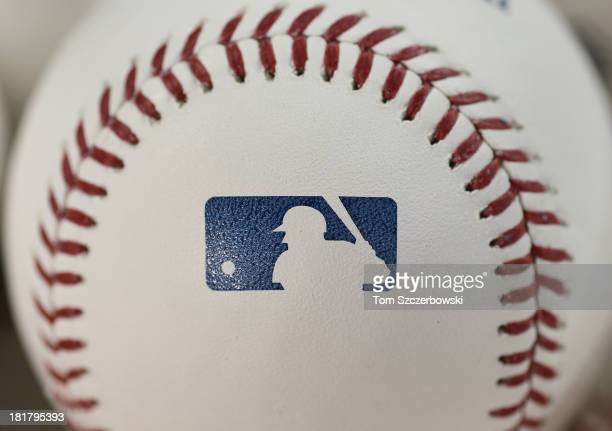 A closeup view of the MLB logo on an official major league baseball before the Toronto Blue Jays MLB game against the Baltimore Orioles on September...