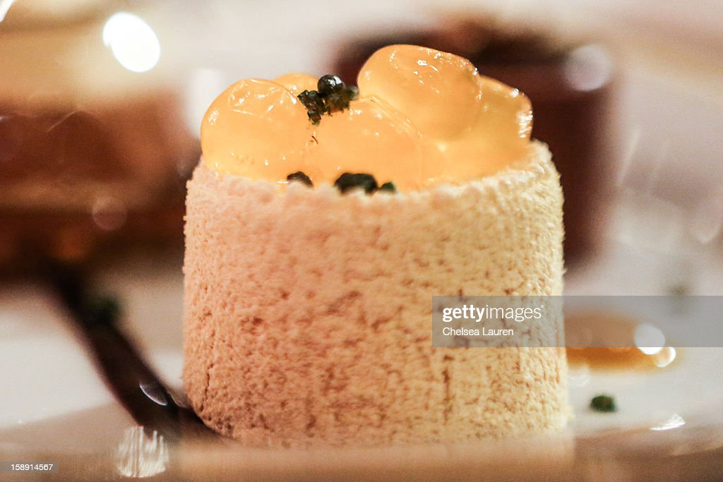 A close-up view of the orange sanguine dessert prepared by executive pastry chef Thomas Henzi for the 2013 Golden Globe Awards at The Beverly Hilton Hotel on January 3, 2013 in Beverly Hills, California.