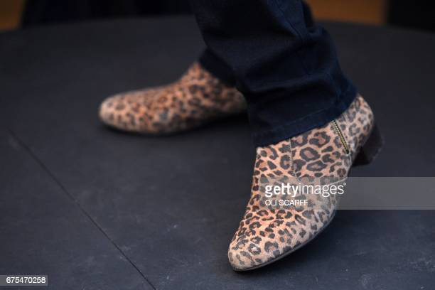 Closeup view of the shoes of British Prime Minister Theresa May delivering a speech to Conservative party supporters in Mawdesley Village Hall near...