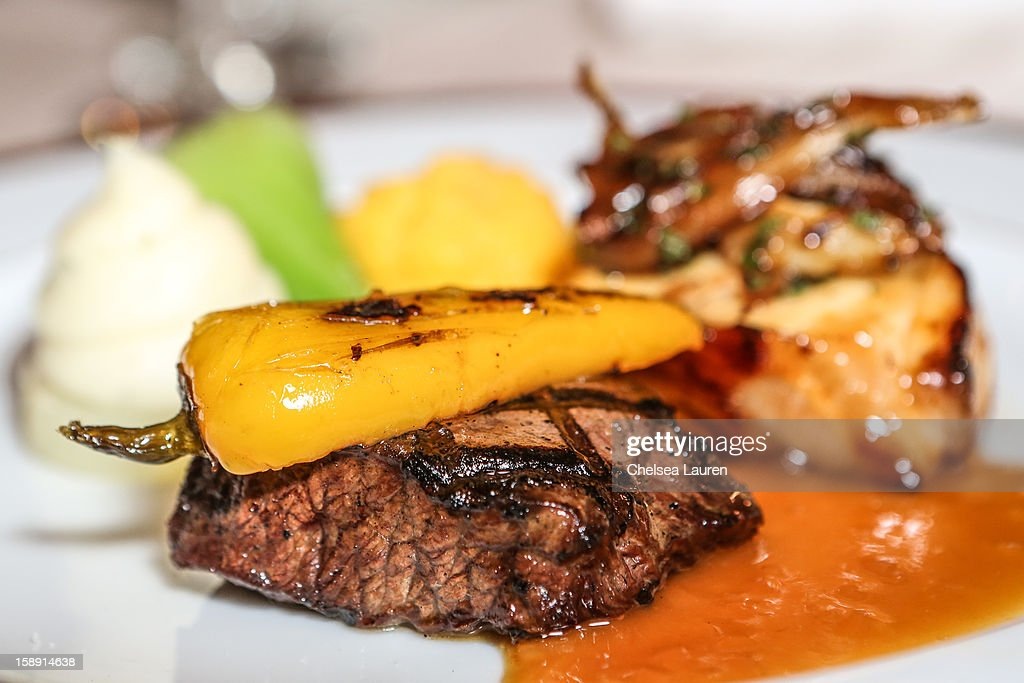 A close-up view of the smoked flat iron beef with grilled sweet pickled pepper entree prepared by executive chef Suki Sugiura for the 2013 Golden Globe Awards at The Beverly Hilton Hotel on January 3, 2013 in Beverly Hills, California.