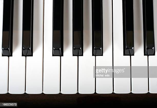 Close-up view of traditional piano keys