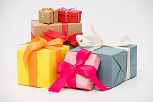close-up view of various colorful gift boxes isolated on white