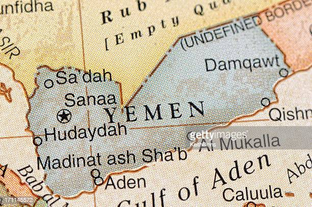 Close-up view of Yemen on a map