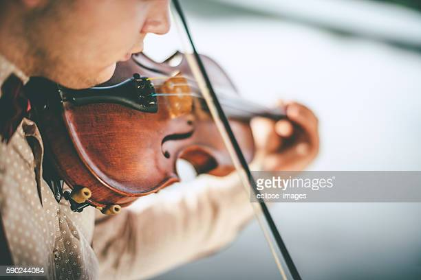 Close-up violin playing