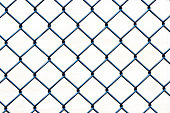 Closeup wire fence aginst white background, copy space
