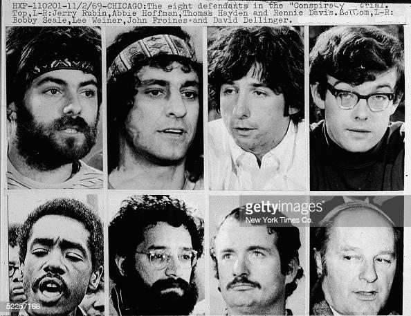 Jerry Rubin Abbie Hoffman Tom Hayden Rennie Davis Bobby Seale Lee Weiner John Froines and David Dellinger circa 1968 The Chicago Seven as they were...
