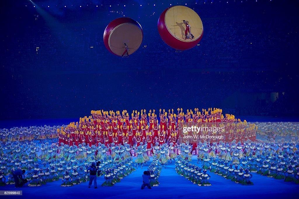 View of performers at National Stadium ( Bird's Nest ). Beijing, China 8/24/2008