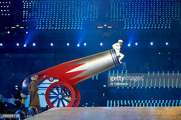 2012 Summer Olympics View of performer climbing into large cannon at Olympic Stadium London United Kingdom 8/12/2012 CREDIT Al Tielemans
