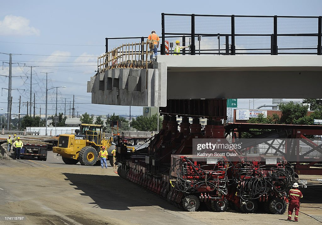 Closing I-70 in both directions over the weekend, the Colorado Department of Transportation (CDOT) will roll the new 2,400-ton Pecos Street bridge (that will go over I-70) approximately 800 feet down I-70 using a Self Propelled Modular Transporter - the first time this method has ever been used by CDOT. The bridge will make a 180 degree turn before being set in to its final resting place. The process will take about 50 hours, with I-70 re-opening on Monday morning.