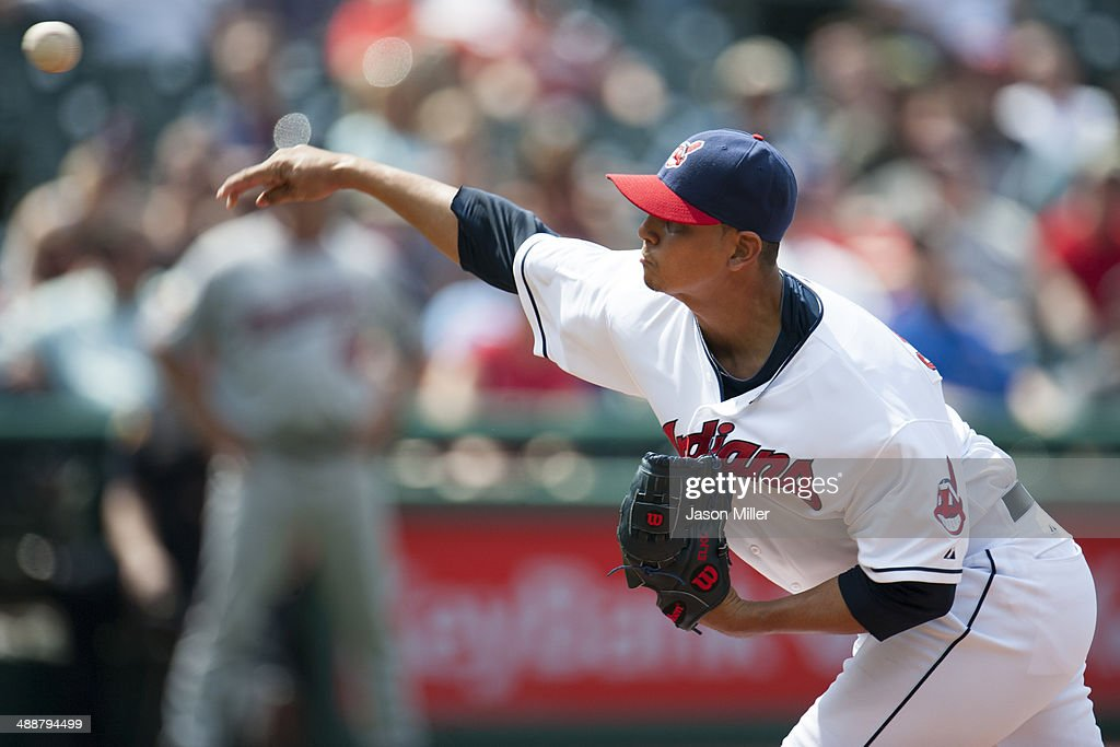 Closing pitcher Carlos Carrasco #59 of the Cleveland Indians pitches during the ninth inning against the Minnesota Twins at Progressive Field on May 8, 2014 in Cleveland, Ohio. The Indians defeated the Twins 9-4.