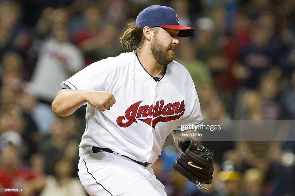 Closing pitcher Chris Perez #54 of the Cleveland Indians celebrates after defeating the Oakland Athletics at Progressive Field on May 7, 2013 in Cleveland, Ohio. The Indians defeated the Athletics 1-0.
