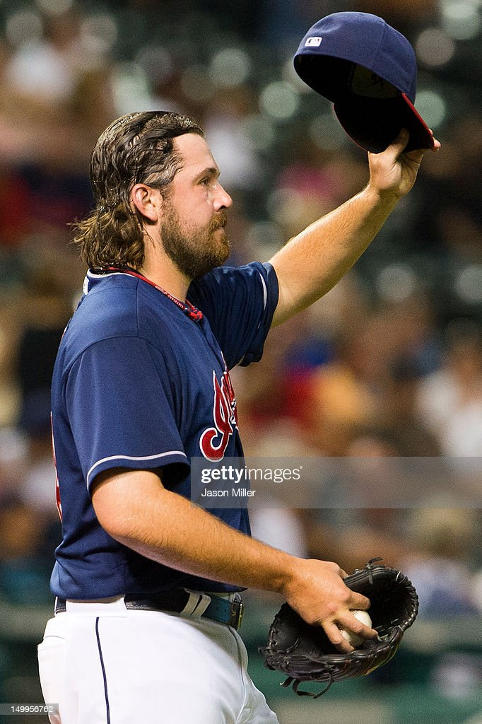 Closing pitcher Chris Perez #54 of the Cleveland Indians reacts after giving up the lead during the ninth inning against the Minnesota Twins at Progressive Field on August 7, 2012 in Cleveland, Ohio.