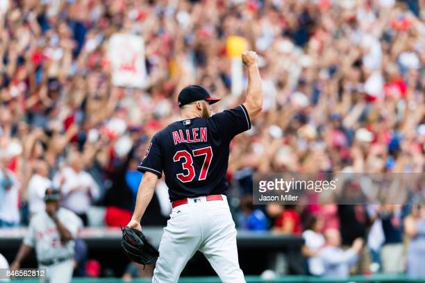 Closing pitcher Cody Allen of the Cleveland Indians celebrates after the last out to defeat the Detroit Tigers at Progressive Field on September 13...