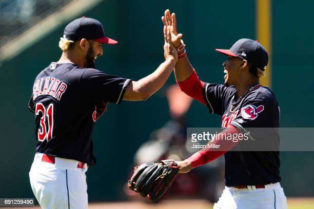 Closing pitcher Danny Salazar celebrates with Francisco Lindor of the Cleveland Indians after the Indians defeated the Oakland Athletics at...