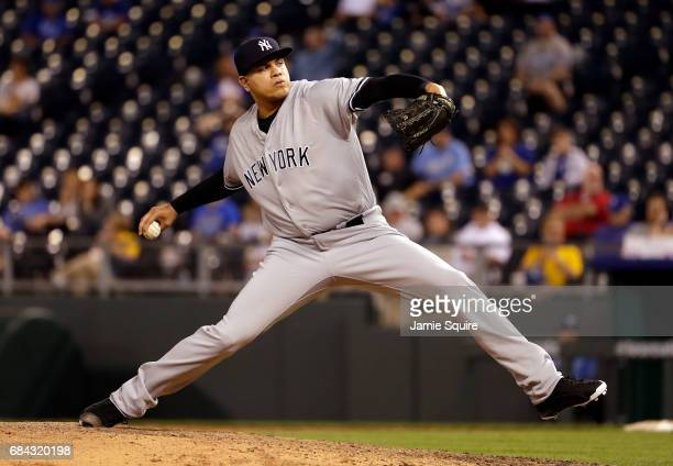 Closing pitcher Dellin Betances of the New York Yankees in action during the game against the Kansas City Royals at Kauffman Stadium on May 17 2017...