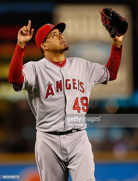 Closing pitcher Ernesto Frieri of the Los Angeles Angels of Anaheim reacts after defeating the Seattle Mariners 75 at Safeco Field on May 29 2014 in...