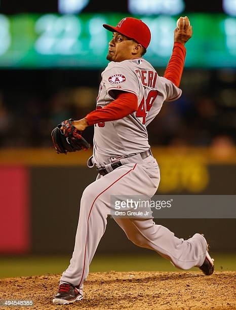 Closing pitcher Ernesto Frieri of the Los Angeles Angels of Anaheim pitches against the Seattle Mariners at Safeco Field on May 29 2014 in Seattle...