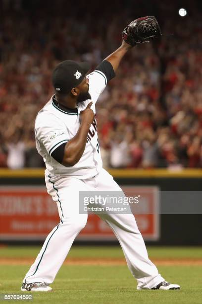 Closing pitcher Fernando Rodney of the Arizona Diamondbacks reacts after defeating the Colorado Rockies 118 in the National League Wild Card game at...