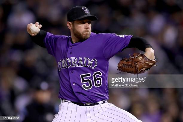 Closing pitcher Greg Holland of the Colorado Rockies throws in the ninth inning against the Washington Nationals at Coors Field on April 24 2017 in...