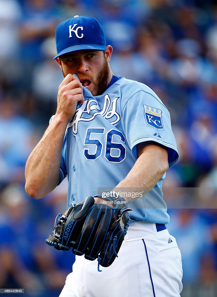 Closing pitcher <a gi-track='captionPersonalityLinkClicked' href=/galleries/search?phrase=Greg+Holland+-+Baseball+Player&family=editorial&specificpeople=8603047 ng-click='$event.stopPropagation()'>Greg Holland</a> #56 of the Kansas City Royals reacts after the Royals defeated the Baltimore Orioles 5-3 to win the game at Kauffman Stadium on August 27, 2015 in Kansas City, Missouri.