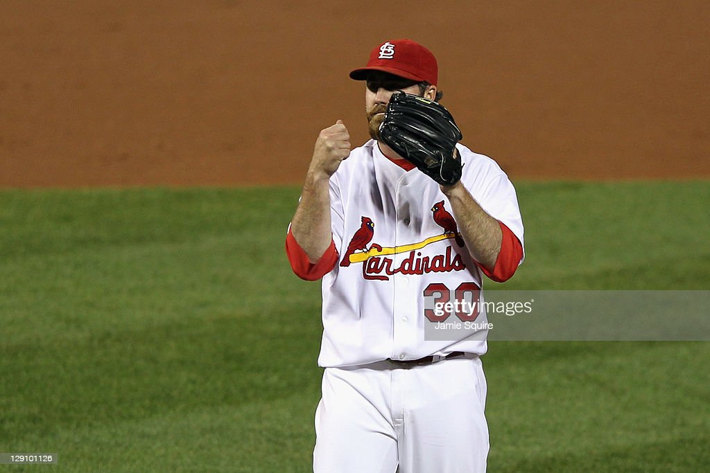 Closing pitcher Jason Motte of the St Louis Cardinals celebrates after the Cardinals recorded the final out of their 43 win against the Milwaukee...