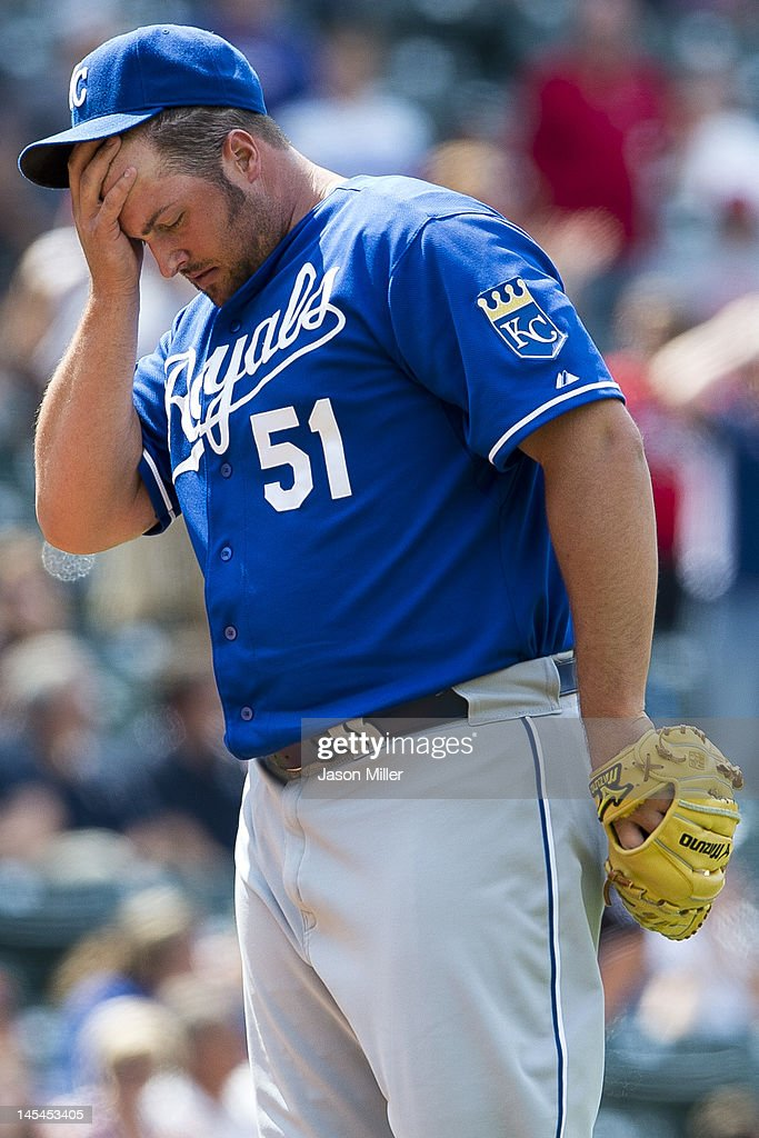 Closing pitcher Jonathan Broxton #51 of the Kansas City Royals reacts after loading the bases during the ninth inning against the Cleveland Indians at Progressive Field on May 30, 2012 in Cleveland, Ohio. The Royals defeated the Indians 6-3.