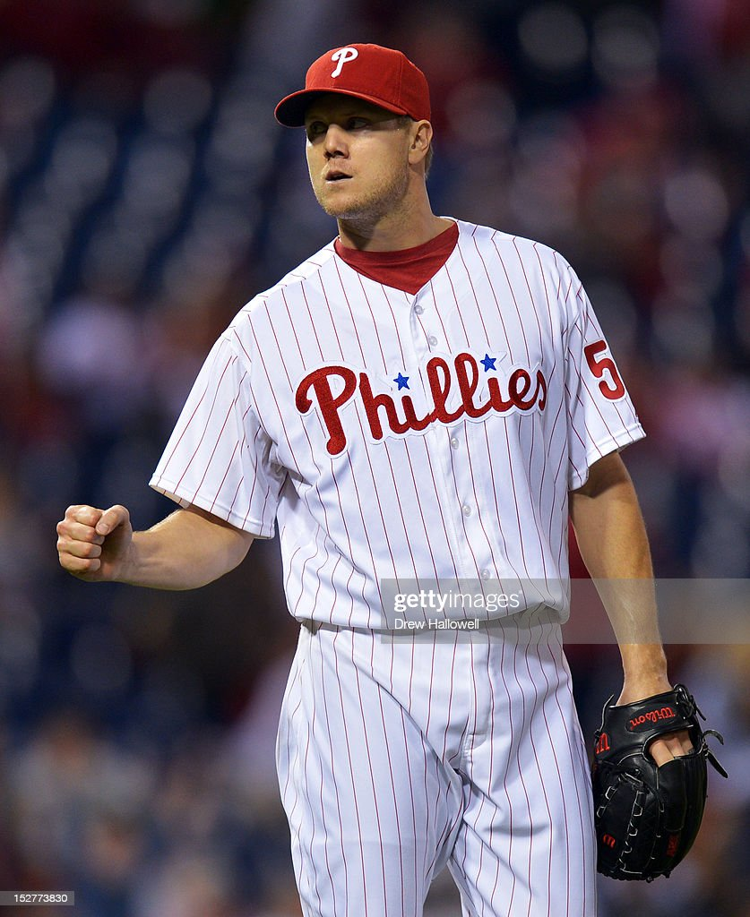 Closing pitcher <a gi-track='captionPersonalityLinkClicked' href=/galleries/search?phrase=Jonathan+Papelbon&family=editorial&specificpeople=453535 ng-click='$event.stopPropagation()'>Jonathan Papelbon</a> #58 of the Philadelphia Phillies celebrates his 37th save of the year in a 6-3 win over the Washington Nationals at Citizens Bank Park on September 25, 2012 in Philadelphia, Pennsylvania.