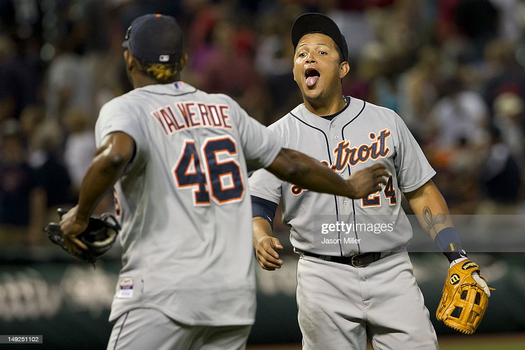 Closing pitcher <a gi-track='captionPersonalityLinkClicked' href=/galleries/search?phrase=Jose+Valverde&family=editorial&specificpeople=689773 ng-click='$event.stopPropagation()'>Jose Valverde</a> #46 celebrates with <a gi-track='captionPersonalityLinkClicked' href=/galleries/search?phrase=Miguel+Cabrera&family=editorial&specificpeople=202141 ng-click='$event.stopPropagation()'>Miguel Cabrera</a> #24 of the Detroit Tigers after the Tigers defeated the Cleveland Indians at Progressive Field on July 25, 2012 in Cleveland, Ohio. The Tigers defeated the Indians 5-3.