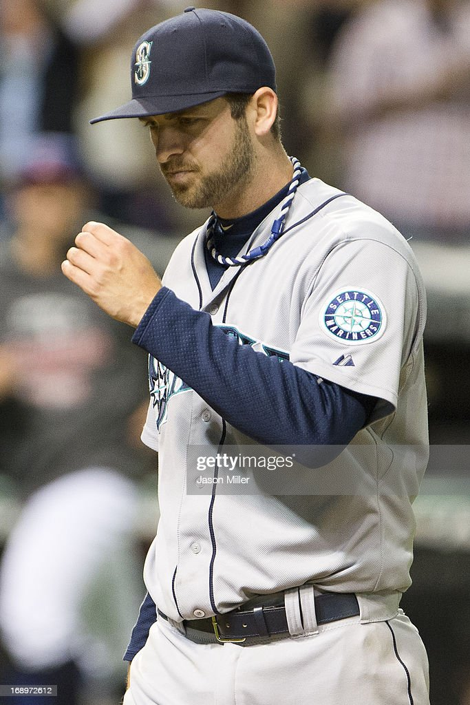 Closing pitcher Lucas Luetge #44 of the Seattle Mariners walks off the field after giving up the game-winning three-run home run to Jason Kipnis (not pictured) of the Cleveland Indians in the tenth inning at Progressive Field on May 17, 2013 in Cleveland, Ohio. The Indians defeated the Mariners 6-3.