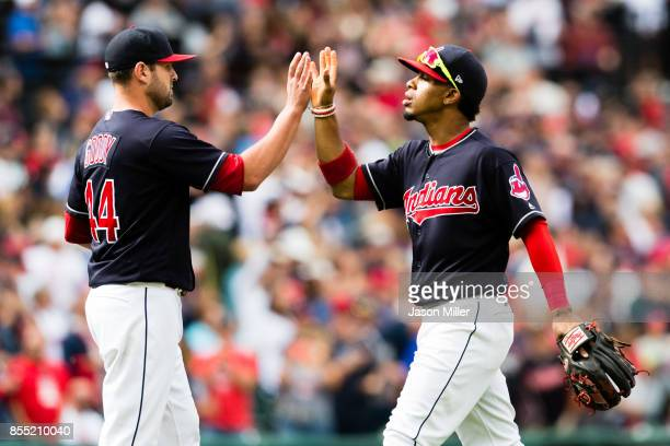 Closing pitcher Nick Goody and Francisco Lindor of the Cleveland Indians celebrate after the Indians defeated the Minnesota Twins at Progressive...