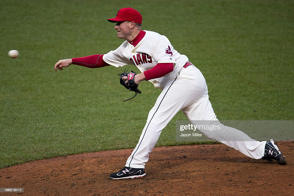 Closing pitcher <a gi-track='captionPersonalityLinkClicked' href=/galleries/search?phrase=Vinnie+Pestano&family=editorial&specificpeople=4583581 ng-click='$event.stopPropagation()'>Vinnie Pestano</a> #52 of the Cleveland Indians pitches during the ninth inning against the Chicago White Sox at Progressive Field on April 13, 2013 in Cleveland, Ohio. The Indians defeated the White Sox 9-4.