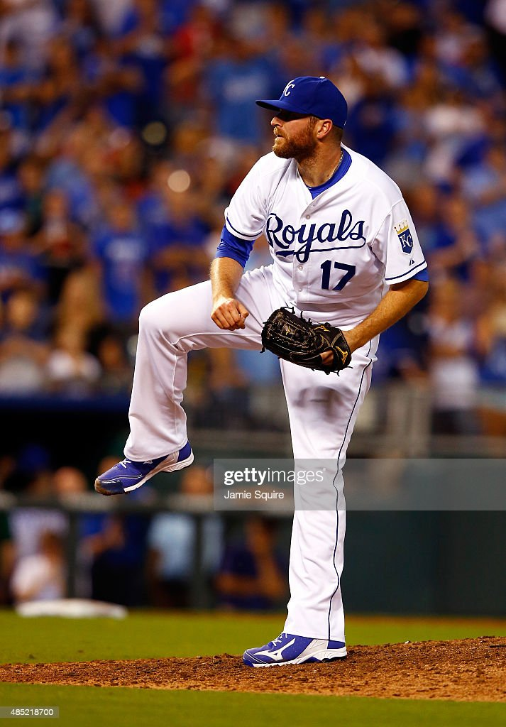 Closing pitcher <a gi-track='captionPersonalityLinkClicked' href=/galleries/search?phrase=Wade+Davis+-+Baseball&family=editorial&specificpeople=8202494 ng-click='$event.stopPropagation()'>Wade Davis</a> #17 of the Kansas City Royals reacts as the Royals defeat the Baltimore Orioles 3-2 to win the game at Kauffman Stadium on August 25, 2015 in Kansas City, Missouri.