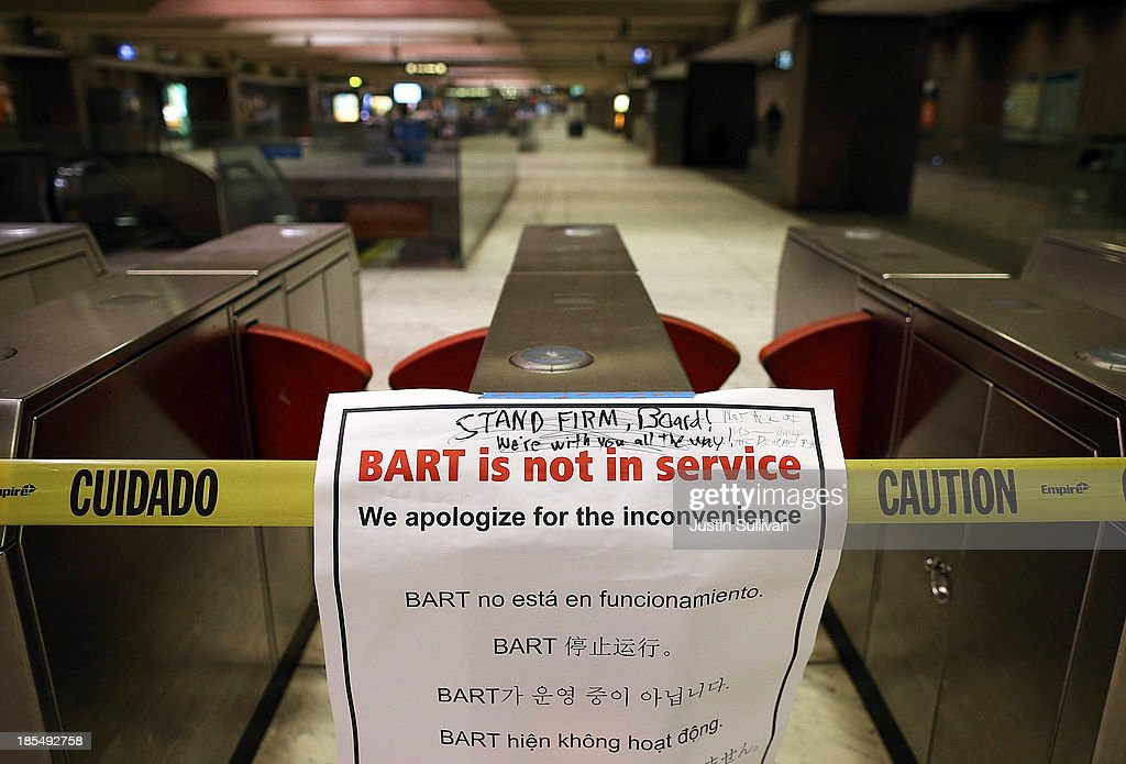 A closure sign is posted on a pay gate at the Bay Area Rapid Transit (BART) Embarcadero station on October 21, 2013 in San Francisco, California. BART workers continue to strike after contract negotiations between BART management and the transit agency's two largest unions fell apart last week. Management and unions agreed on the financial specifics of the contract but differed on workplace safety rules. An estimated 400,000 commuters ride BART each day.