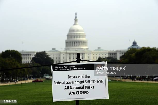 A closure sign is posted on the national mall near the US Capitol in Washington DC October 3 as seen during the third day of the federal government...