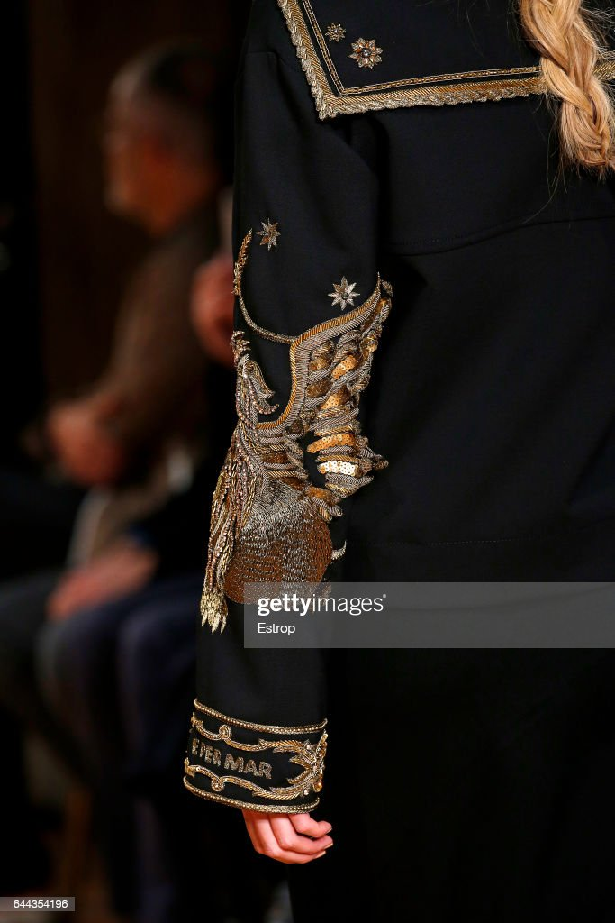 A Cloth detail at the Alberta Ferretti show during Milan Fashion Week Fall/Winter 2017/18 on February 22, 2017 in Milan, Italy.