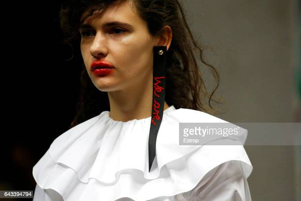 Cloth detail at the runway during Preen by Thornton Bregazzi show at the London Fashion Week February 2017 collections on February 19 2017 in London...