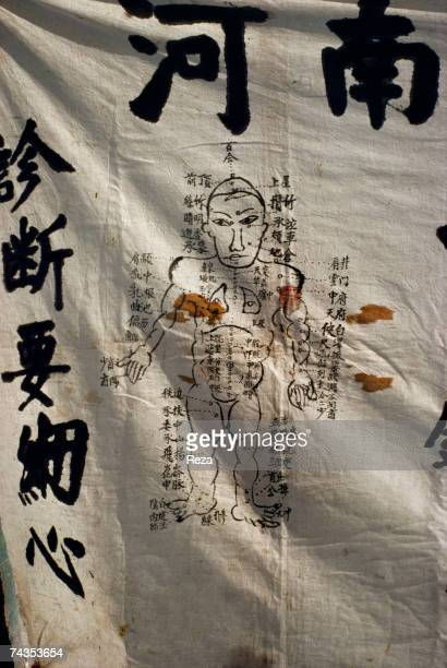A cloth painting represents different acupuncture spots of the human body all the details are written in Mandarin July 1995 in Altay China