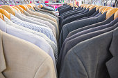 Selective focus men shirt on rack