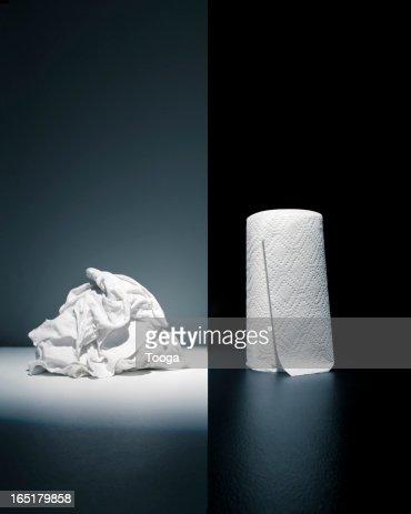 Cloth rags vs. paper towel : Stock Photo
