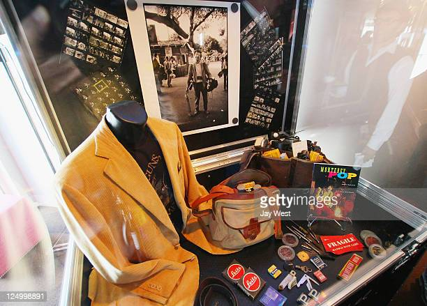 Clothes and the contents of legendary photographer Jim Marshall's camera bags on display at ACL Live on September 14 2011 in Austin Texas